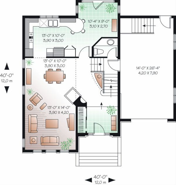 European Floor Plan - Main Floor Plan Plan #23-804