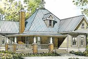 Country Style House Plan - 2 Beds 2 Baths 1270 Sq/Ft Plan #140-164 Exterior - Front Elevation