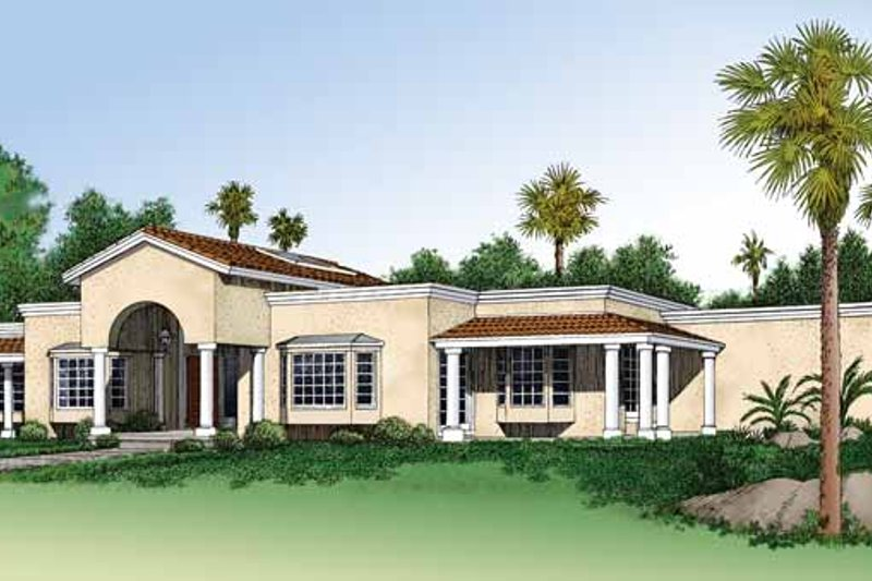 House Plan Design - Mediterranean Exterior - Front Elevation Plan #72-900
