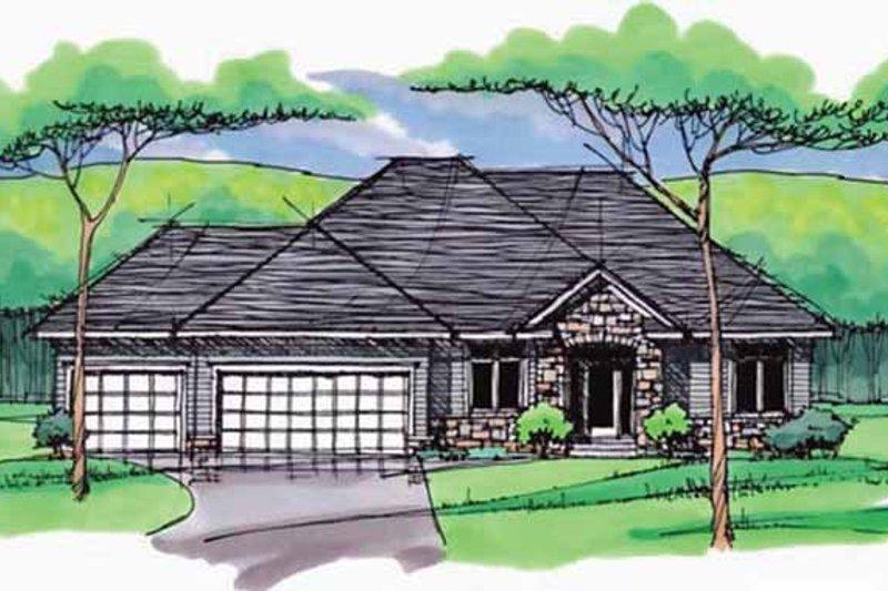 Architectural House Design - European Exterior - Front Elevation Plan #51-966