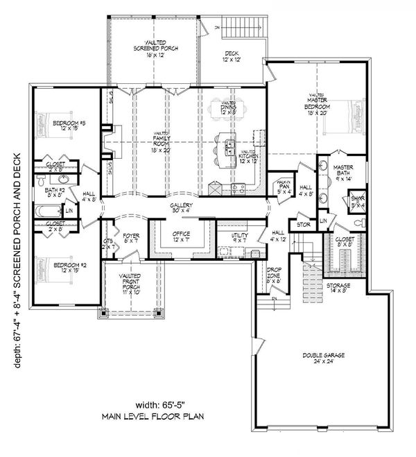 Craftsman Floor Plan - Main Floor Plan Plan #932-10