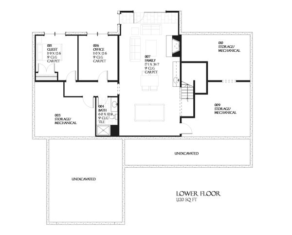 Ranch Floor Plan - Lower Floor Plan Plan #901-62
