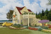 Cottage Style House Plan - 1 Beds 1 Baths 400 Sq/Ft Plan #917-8 Exterior - Front Elevation