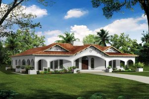 Dream House Plan - Mediterranean Exterior - Front Elevation Plan #72-150
