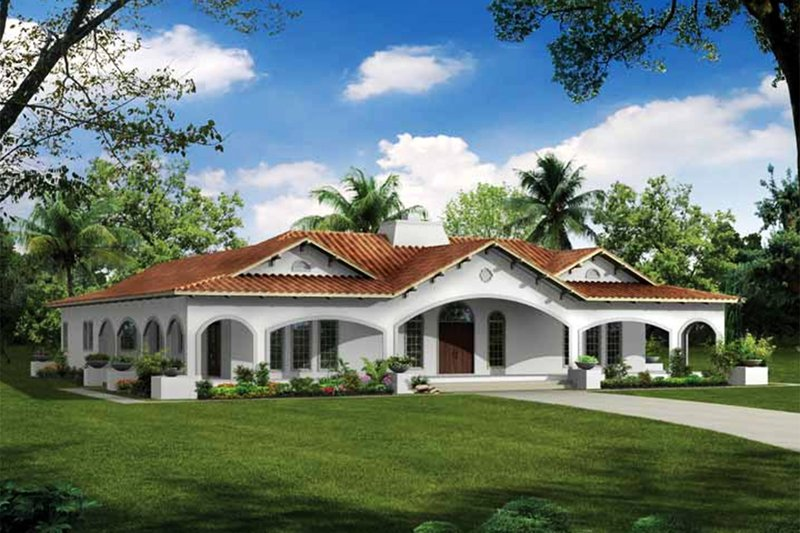 Mediterranean Exterior - Front Elevation Plan #72-150 - Houseplans.com