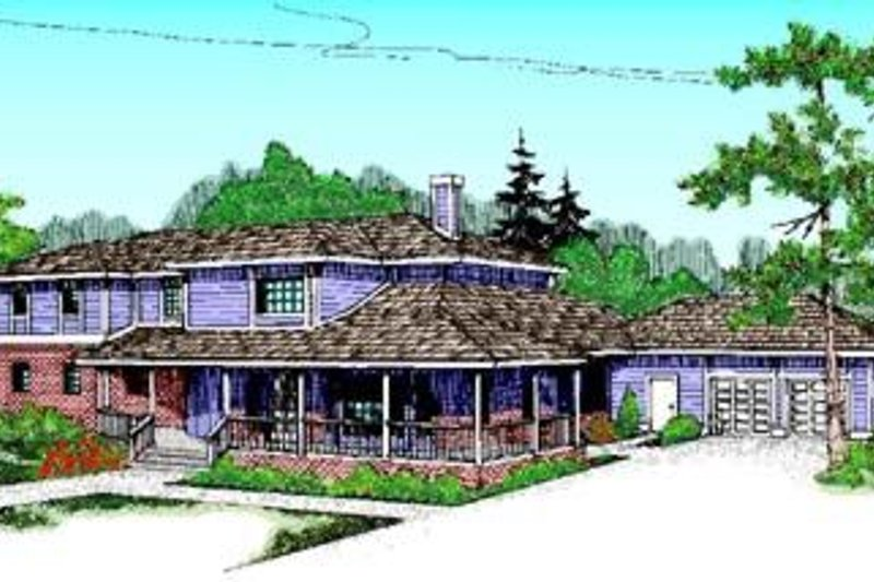 Country Style House Plan - 4 Beds 2.5 Baths 2886 Sq/Ft Plan #60-353 Exterior - Front Elevation