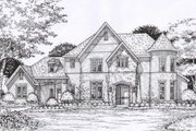 European Style House Plan - 5 Beds 4.5 Baths 4720 Sq/Ft Plan #141-263 Exterior - Front Elevation