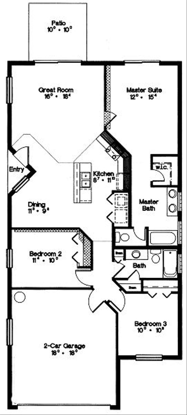Mediterranean Floor Plan - Main Floor Plan Plan #417-115