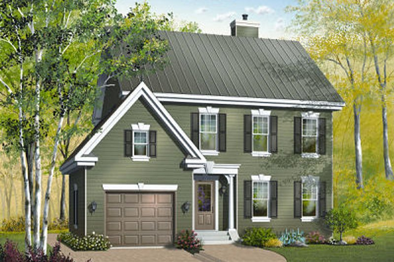 Colonial Style House Plan - 3 Beds 2.5 Baths 1722 Sq/Ft Plan #23-839