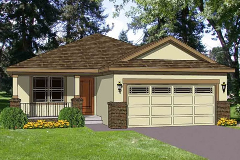 Traditional Style House Plan - 3 Beds 2 Baths 1216 Sq/Ft Plan #116-261 Exterior - Front Elevation