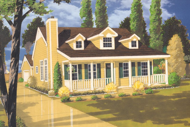Country Exterior - Front Elevation Plan #3-115