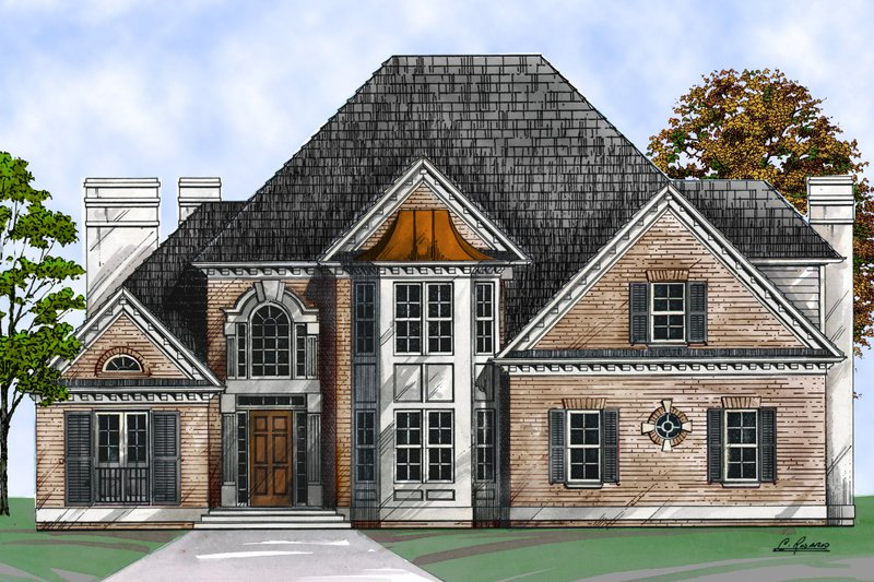 European Style House Plan - 5 Beds 3.5 Baths 2553 Sq/Ft Plan #119-127 Exterior - Front Elevation