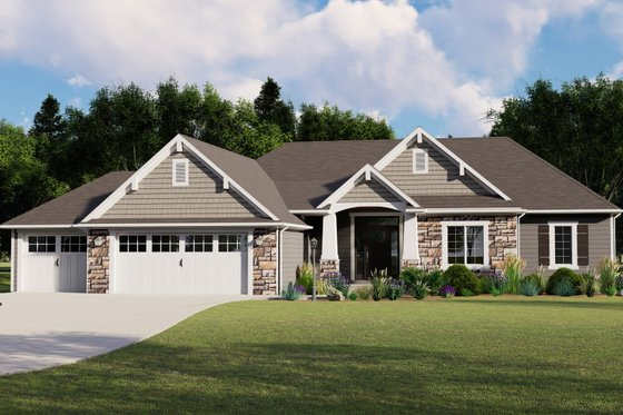 Ranch Exterior - Front Elevation Plan #1064-82