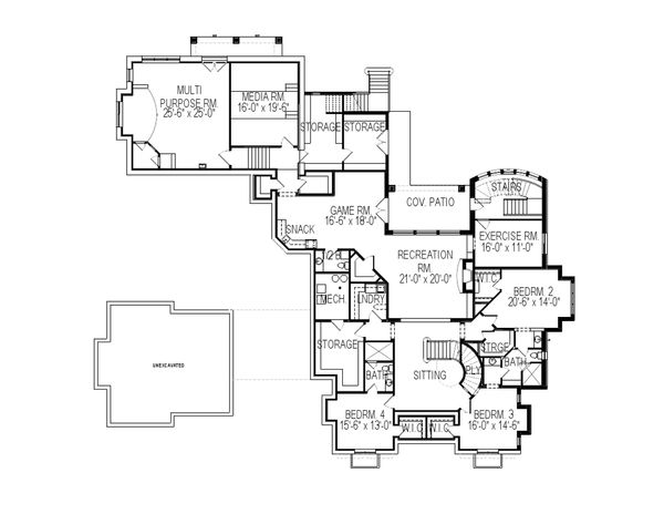 European Floor Plan - Lower Floor Plan Plan #920-65