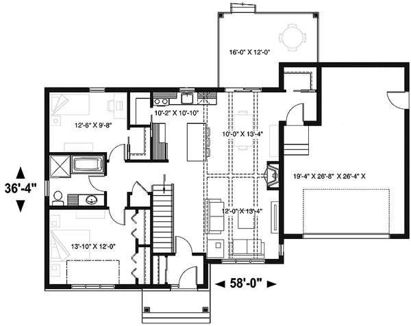 House Plan Design - Ranch Floor Plan - Main Floor Plan #23-2665