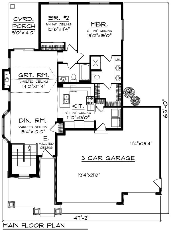 Craftsman Floor Plan - Main Floor Plan Plan #70-1260