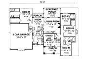 Cottage Style House Plan - 4 Beds 2 Baths 1997 Sq/Ft Plan #513-2048 Floor Plan - Main Floor