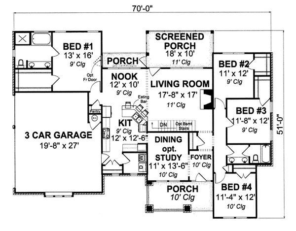 Cottage Floor Plan - Main Floor Plan Plan #513-2048