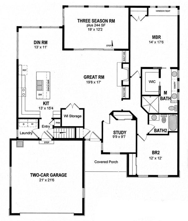 Home Plan - Colonial Floor Plan - Main Floor Plan #316-285