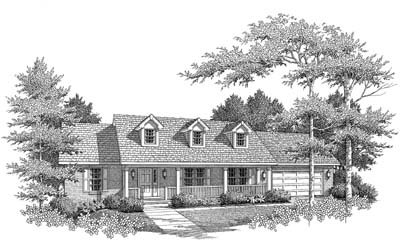 Ranch Style House Plan - 3 Beds 2 Baths 1400 Sq/Ft Plan #22-106 Exterior - Front Elevation