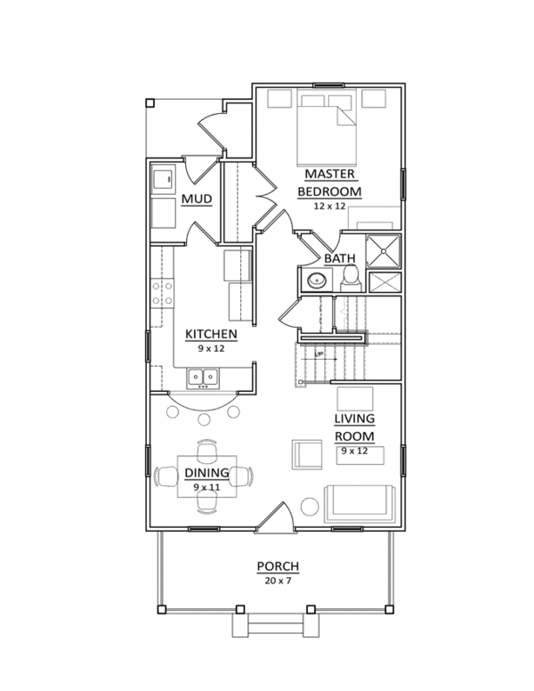 Craftsman Floor Plan - Main Floor Plan Plan #936-4