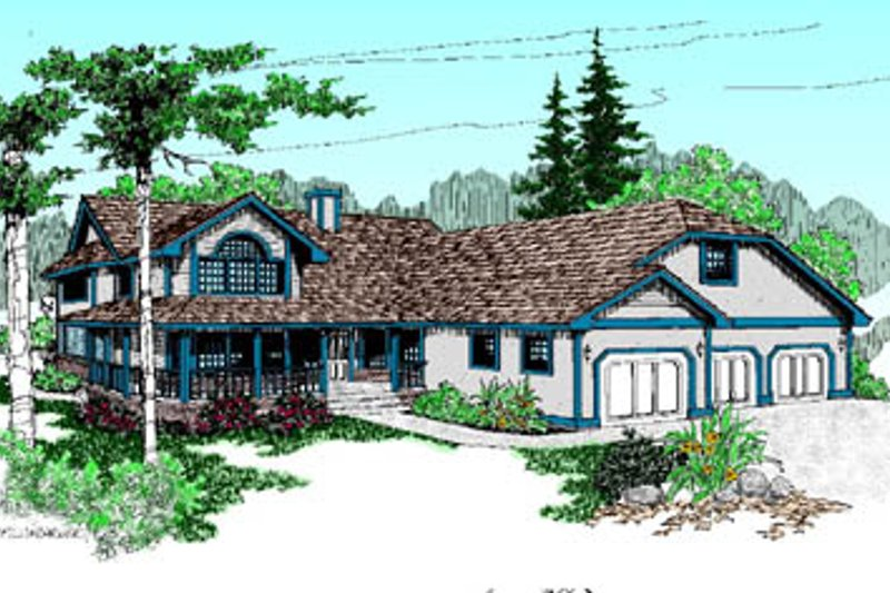 Traditional Exterior - Front Elevation Plan #60-176 - Houseplans.com
