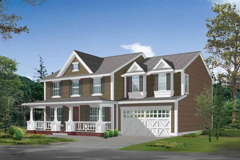 Architectural House Design - Country Exterior - Front Elevation Plan #132-310