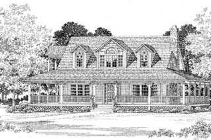 House Blueprint - Country Exterior - Front Elevation Plan #72-106