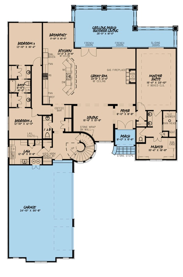 European Floor Plan - Main Floor Plan Plan #923-111