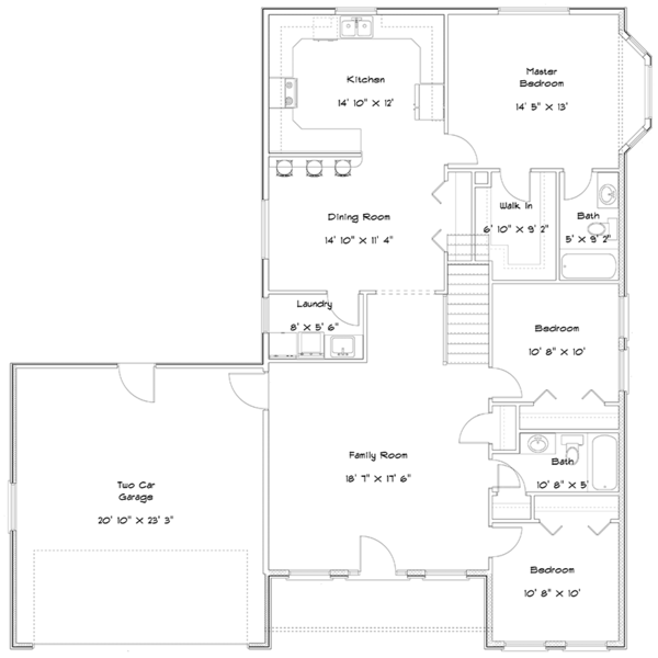 Ranch Floor Plan - Main Floor Plan Plan #1060-22