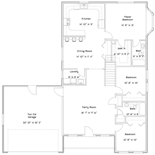 Ranch Floor Plan - Main Floor Plan Plan #1060-22