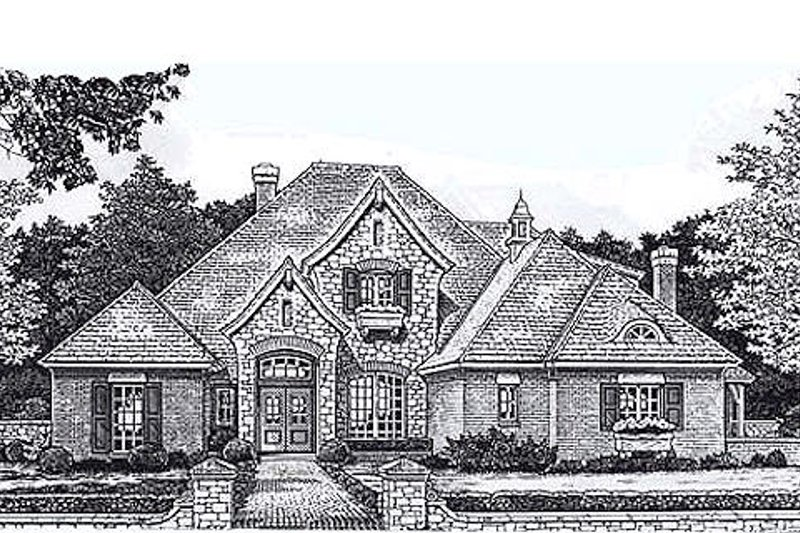 European Style House Plan - 4 Beds 3.5 Baths 2985 Sq/Ft Plan #310-872 Exterior - Front Elevation