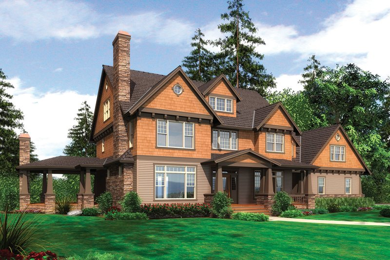 Dream House Plan - Front View - 4000 square foot Country Craftsman home