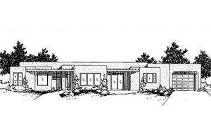Adobe / Southwestern Exterior - Front Elevation Plan #24-214
