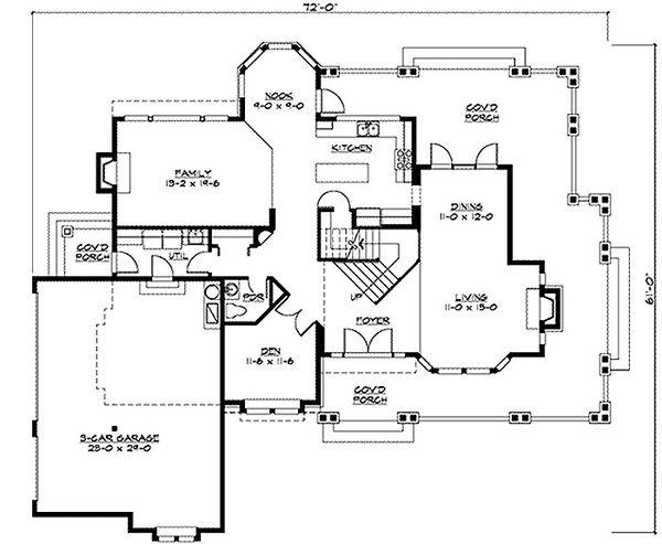 Craftsman Floor Plan - Main Floor Plan Plan #132-121