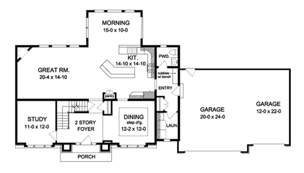 Colonial Floor Plan - Main Floor Plan Plan #1010-164