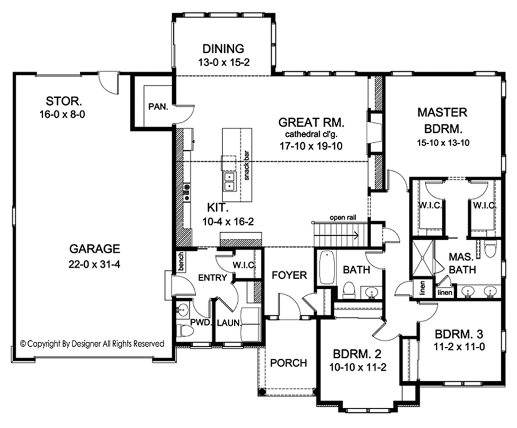 Ranch style house plan 3 beds 2 5 baths 2006 sq ft plan for 2 5 garage plans