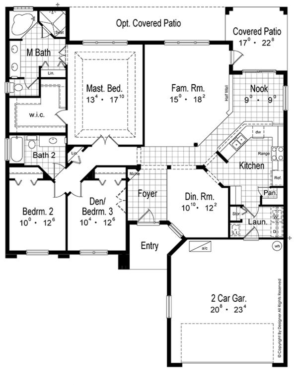 Mediterranean Floor Plan - Main Floor Plan Plan #417-802
