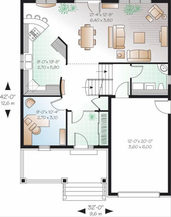 European Floor Plan - Main Floor Plan Plan #23-798
