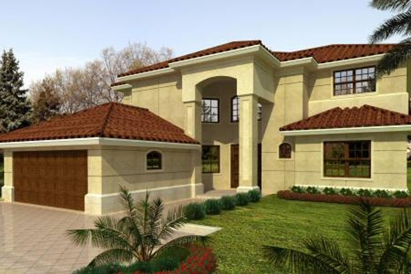 Mediterranean Style House Plan - 5 Beds 3.5 Baths 3543 Sq/Ft Plan #420-142 Exterior - Front Elevation