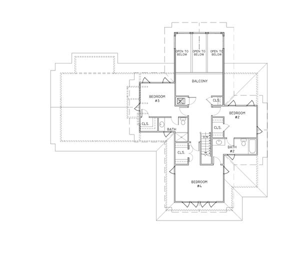 Craftsman Floor Plan - Upper Floor Plan Plan #536-7
