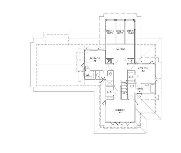 Craftsman Style House Plan - 4 Beds 3.5 Baths 2538 Sq/Ft Plan #536-7 Floor Plan - Upper Floor Plan