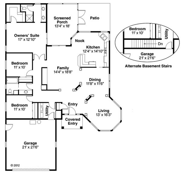 Mediterranean Floor Plan - Main Floor Plan Plan #124-432