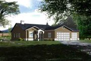 Adobe / Southwestern Style House Plan - 4 Beds 2 Baths 1698 Sq/Ft Plan #1-967 Exterior - Front Elevation