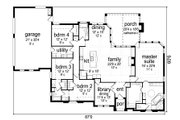 Tudor Style House Plan - 4 Beds 3 Baths 2740 Sq/Ft Plan #84-591 Floor Plan - Main Floor Plan