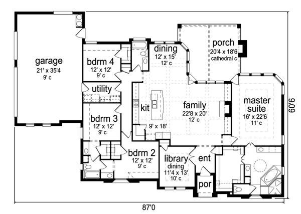 Tudor Floor Plan - Main Floor Plan Plan #84-591