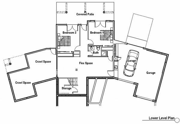 Craftsman Floor Plan - Lower Floor Plan #451-10