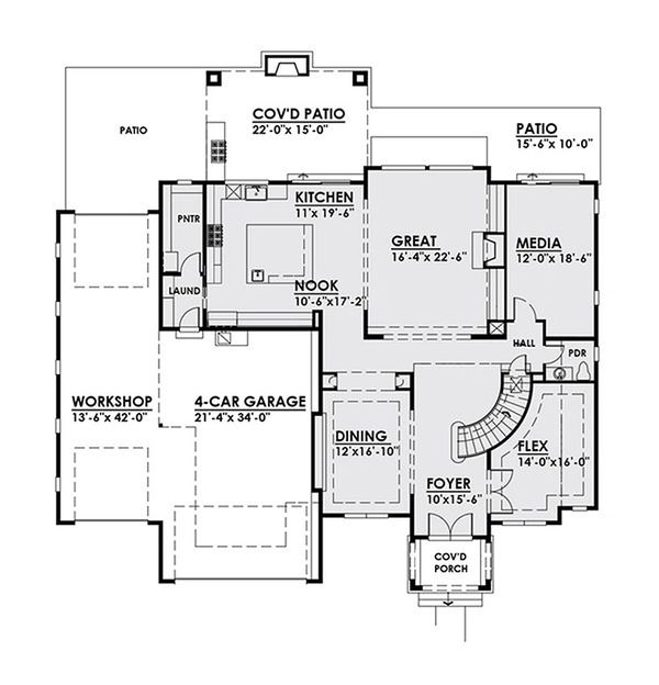 Classical Floor Plan - Main Floor Plan Plan #1066-18