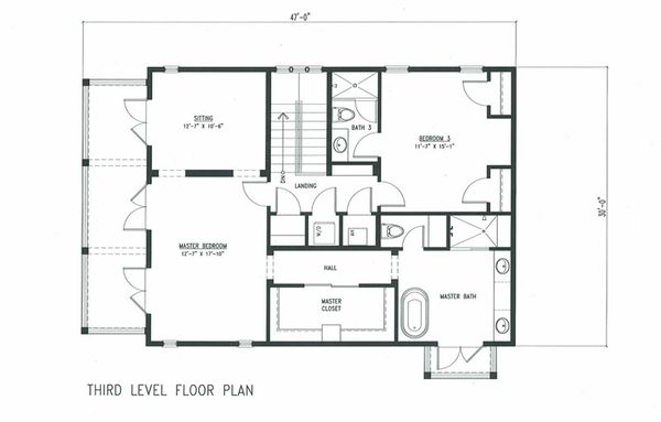 Beach Style House Plan - 4 Beds 3 Baths 2518 Sq/Ft Plan #443-7 Floor Plan - Upper Floor Plan