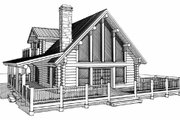 Log Style House Plan - 2 Beds 2 Baths 1394 Sq/Ft Plan #451-11 Exterior - Other Elevation